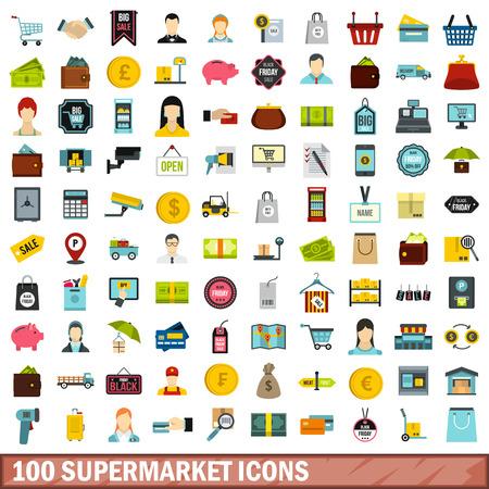 scale icon: 100 supermarket icons set, flat style