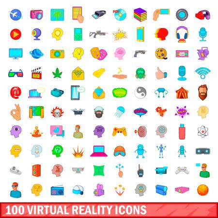 100 virtual reality icons set, cartoon style
