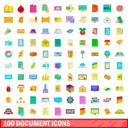 mobile website: 100 document icons set, cartoon style