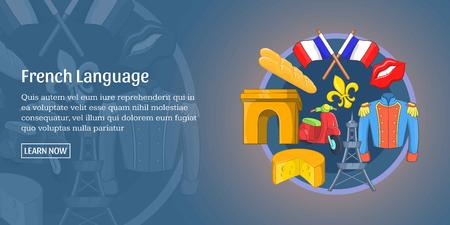 frenchman: French language banner horizontal, cartoon style
