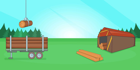 Logging banner horizontal, cartoon style