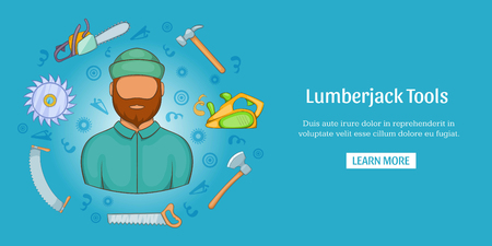 Lumberjack tools banner horizontal, cartoon style