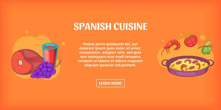 Spanish cuisine banner horizontal, cartoon style Stock Illustratie