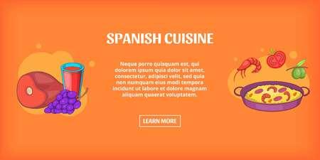 Spaanse keuken banner horizontale, cartoon stijl
