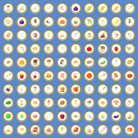 100 icônes de nourriture et de cuisine ou vecteur de bande dessinée