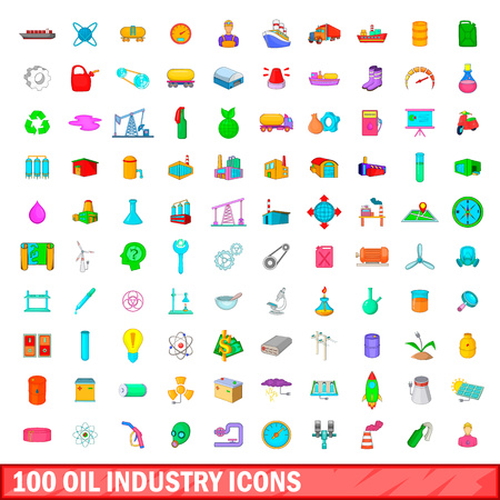 100 oil industry icons set, cartoon style