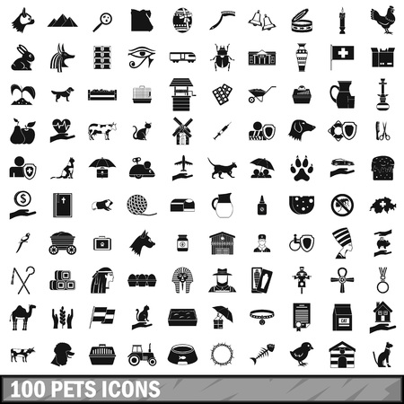 mouse: 100 pets icons set, simple style Illustration