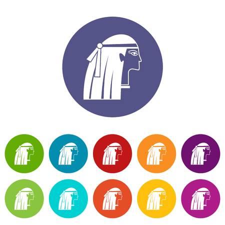 Egyptian girl icons set flat vector