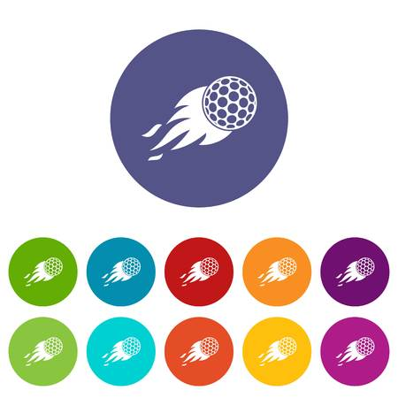 Burning golf ball icons set flat vector Illustration
