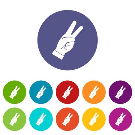 raise the thumb: Hand showing victory sign icons set flat vector
