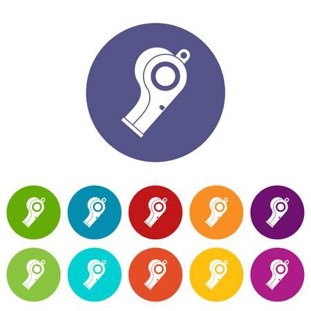 Sport whistle icons set flat vector Illustration
