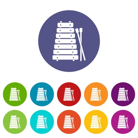 Xylophone and sticks icons set in circle isolated flat vector illustration