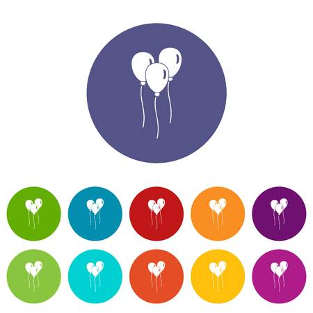 Balloons icons set flat vector