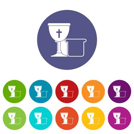 religion ritual: Bowl and bread icons set flat vector