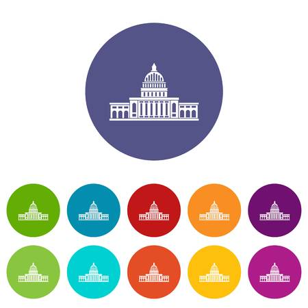 congress: White house icons set flat vector Illustration