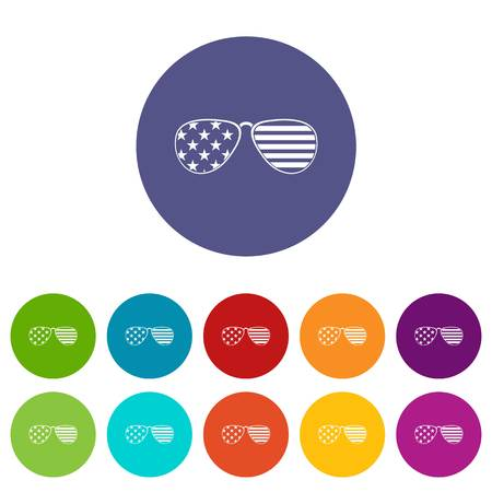 American glasses icons set flat vector