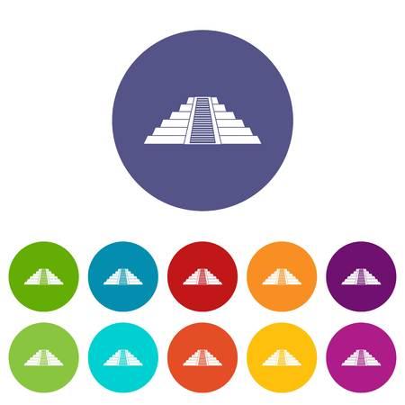 Ziggurat in Chichen Itza, Yucatan icons set in circle isolated flat vector illustration 向量圖像