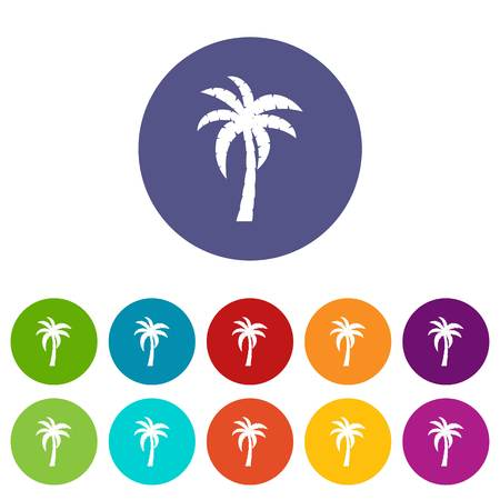 Flip flop sandals icons set in circle isolated flat vector illustration