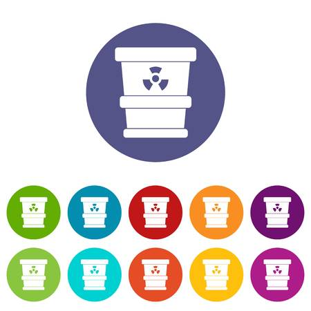Plastic office waste bin icons set in circle isolated flat vector illustration