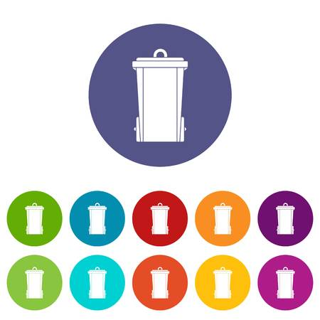 Outdoor plastic trash can icons set in circle isolated flat vector illustration