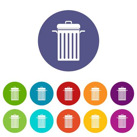 Garbage bin icons set in circle isolated flat vector illustration