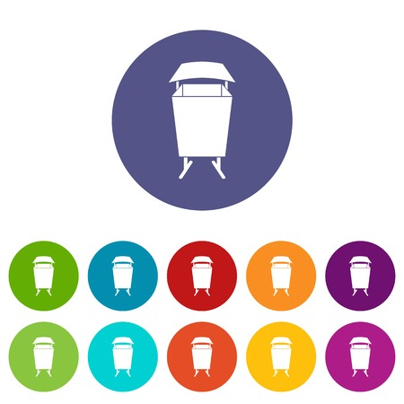 Litter waste bin icons set in circle isolated flat vector illustration
