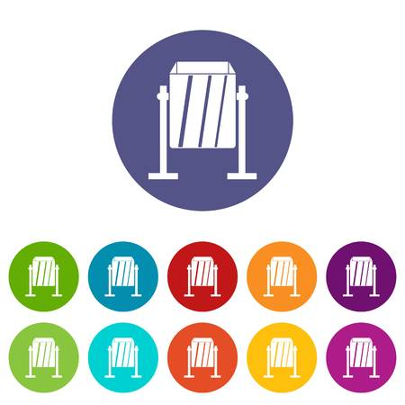 Metal dust bin icons set in circle isolated flat vector illustration