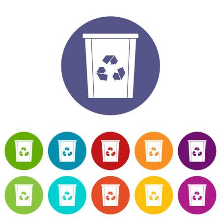 Trash bin with recycle symbol icons set in circle isolated flat vector illustration