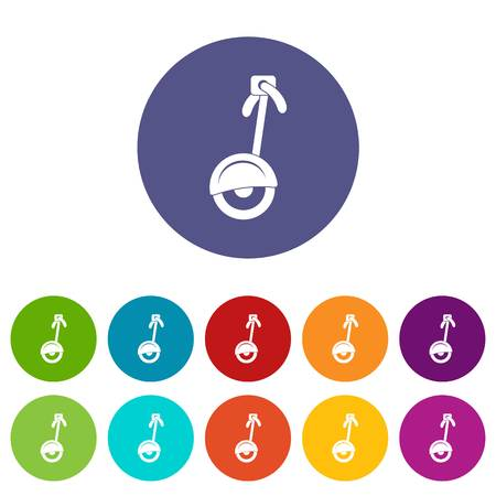Hoverboard gyro pod top view icons set in circle isolated flat vector illustration