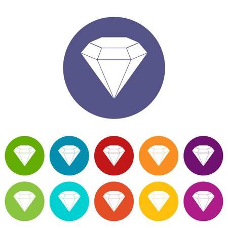 royal wedding: Diamond gemstone icons set in circle isolated flat vector illustration