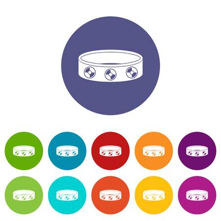 Bracelet with gems icons set in circle isolated flat vector illustration