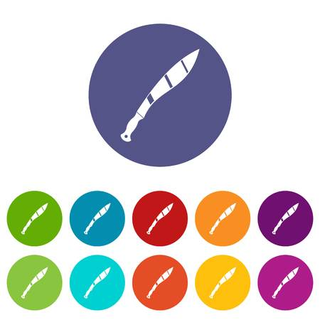 Crooked knife icons set in circle isolated flat vector illustration
