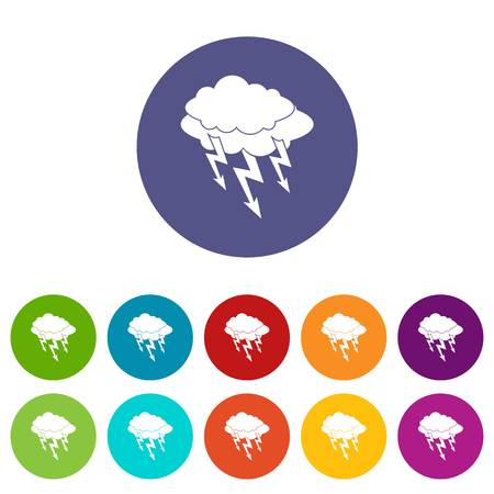 Lightning bolt icons set in circle isolated flat vector illustration