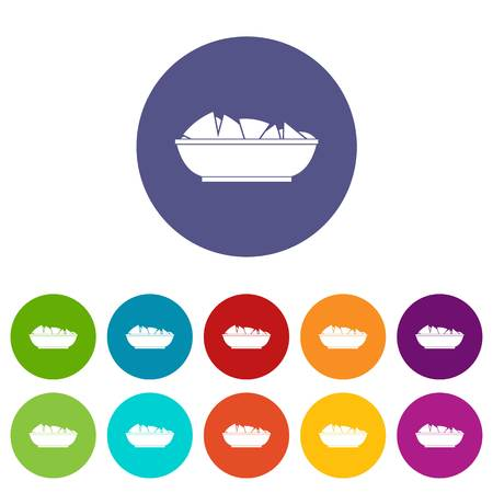 chips and salsa: Nachos in bowl icons set flat vector Illustration