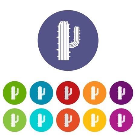 Lophophora cactus icons set flat vector