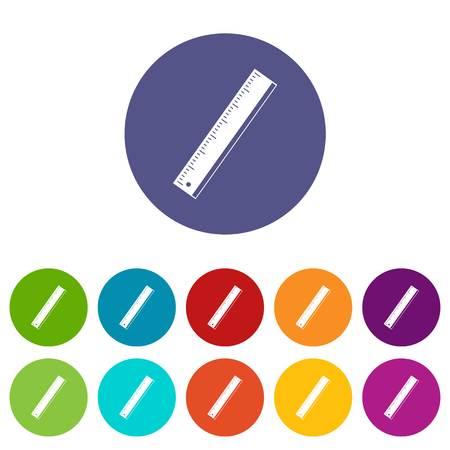 Yardstick icons set flat vector Illustration