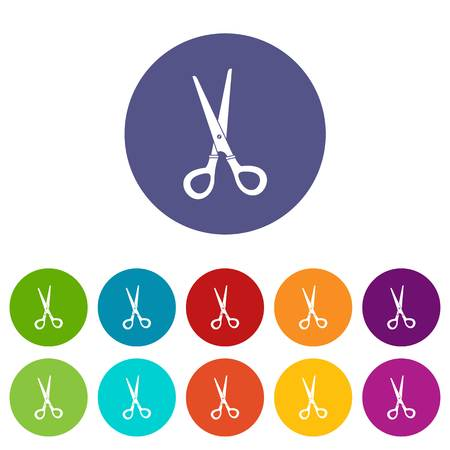 scissors: Stationery scissors icons set flat vector
