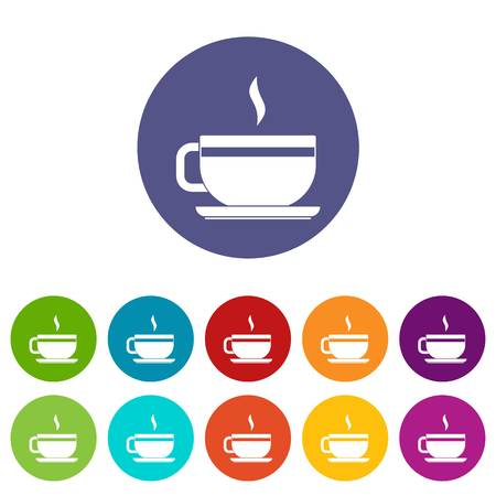 ENT: Tea cup and saucer icons set in circle isolated flat vector illustration
