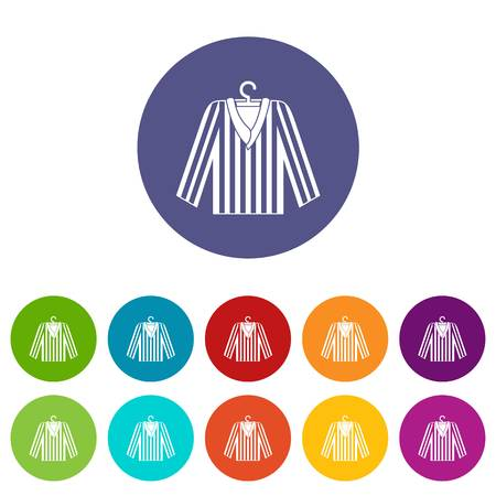 Striped pajama shirt icons set in circle isolated flat vector illustration