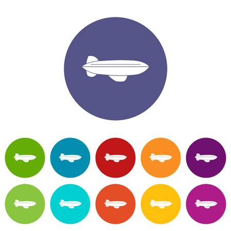 Blimp aircraft flying icons set in circle isolated flat vector illustration Illustration