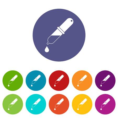 Pipette icons set in circle isolated flat vector illustration Illustration