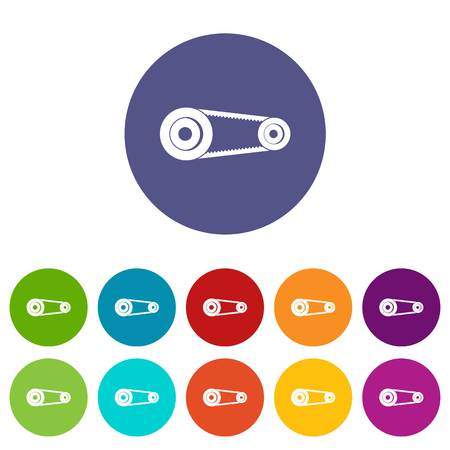 Mechanic belt icons set flat vector Illustration