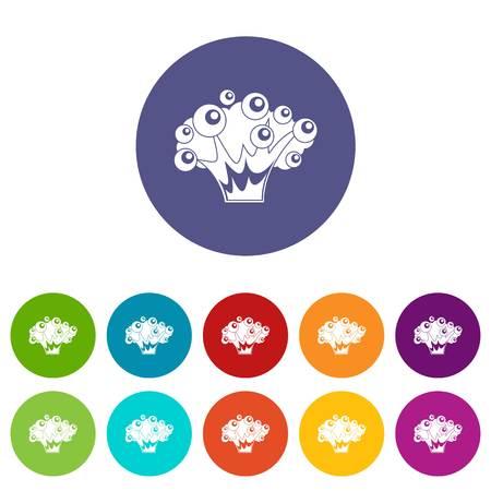 Hoge kracht explosie iconen in cirkel geïsoleerde platte vector illustratie