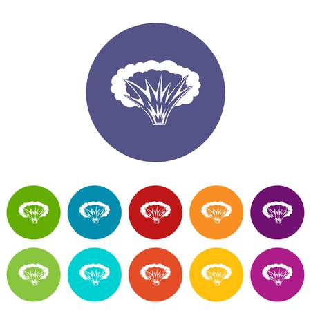 atomic bomb: Atomical explosion icons set in circle isolated flat vector illustration
