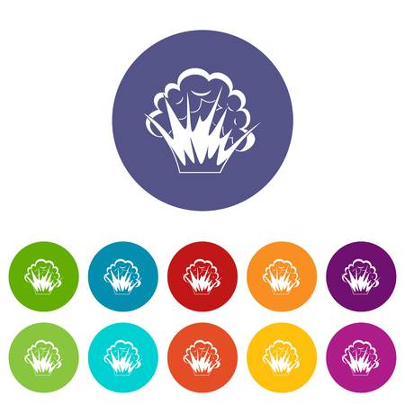 Explosion icons set in circle isolated flat vector illustration