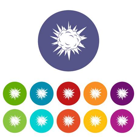 atomic symbol: Atomic explosion icons set in circle isolated flat vector illustration