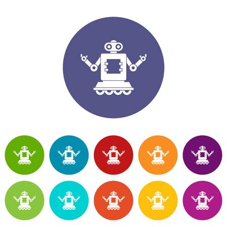 Robot on wheels icons set in circle isolated flat vector illustration Illustration