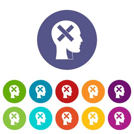 Human head with cross inside icons set in circle isolated flat vector illustration Illusztráció