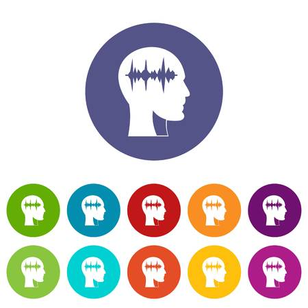 brain illustration: Hourglass in head icons set in circle isolated flat vector illustration