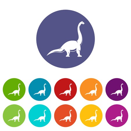 Elasmosaurine dinosaur icons set flat vector Illustration